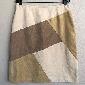 Liz Claiborne Faux Suede Patchwork Mini Skirt